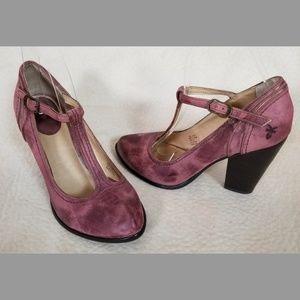 Frye T strap heels